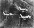"Streaking north over the rugged mountain territory of Korea, these U.S. Air Force F-86 ""Sabre"" jets of the 51st... - NARA - 542248.tif"