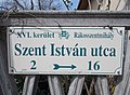 Street sign, Szent István street, 2018 Rákosszentmihály.jpg
