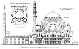 Süleymaniye Mosque - Elevation and plan published by Cornelius Gurlitt in 1912