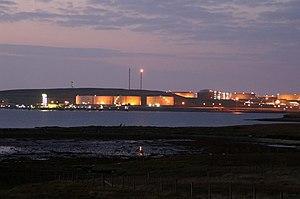Sullom Voe Terminal - Sullom Voe oil terminal at dusk
