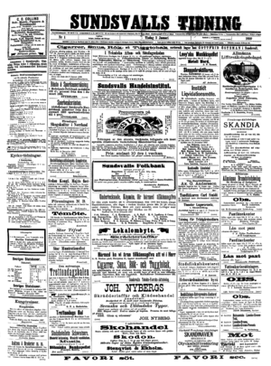Sundsvalls Tidning - Front page, 3 January 1888