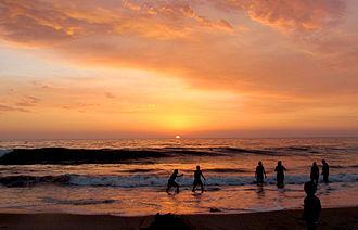 Playas de Tijuana - Kids playing at sunset in Playas de Tijuana