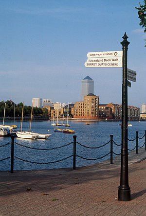 Surrey Commercial Docks - Greenland Dock, Surrey Quays in the 1990s