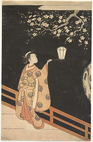 In a Station of the Metro - Pound may have been inspired by this ukiyo-e print he saw in the British Library. Woman Admiring Plum Blossoms at Night, Suzuki Harunobu, 18th century