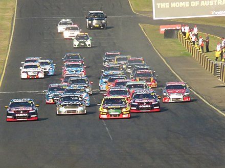 The start of a race during the 2016 Supercars Championship in Australia Sydney SuperSprint 2016 Race 18 Start.jpg