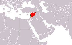 Map indicating locations of Lebanon and Syria