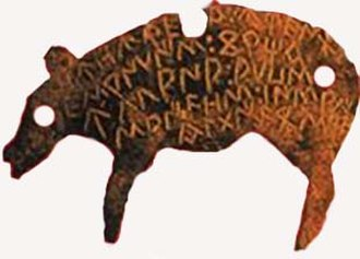 Belli - Example of a bronze hospitality token in the Celtiberian Celtic language