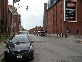Distillery District - Motor vehicle traffic is restricted to the outer areas of the Distillery District, with most of the neighbourhood designated as a pedestrian zone.