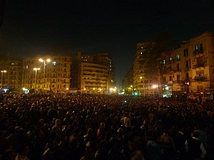 "Timeline of the Egyptian revolution of 2011 - Tahrir Square at night during the ""Day of Revolt"""