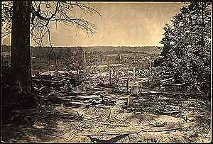 "Battle of Peachtree Creek - ""Few battlefields of the war have been strewn so thickly with dead and wounded as they lay that evening around Collier's Mill."" (Union Major Gen. J.D. Cox)"