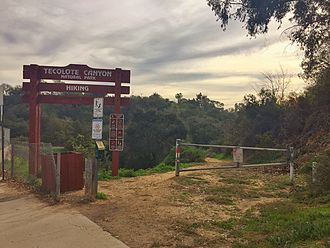 Clairemont, San Diego - There are many public entrances into the Tecolote Canyon Natural Park. This image shows an  entrance off of Genesee Ave.