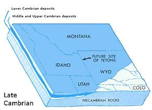 Geology of the Grand Teton area - The region was covered by the shallow seaway by the end of the Late Cambrian.