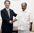 The Defence Minister of Japan, Mr. Toshimi Kitazawa called on the Defence Minister, Shri A. K. Antony, in New Delhi on April 30, 2010.jpg