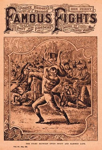 Owen Swift - The Fight between Hammer Lane and Owen Swift (1834) as imagined by Famous Fights: Past and Present, No. 52, early 1900s.