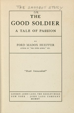 The Good Soldier - First Edition of The Good Soldier, with original title