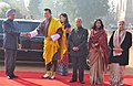 The King of Bhutan, His Majesty Jigme Khesar Namgyel Wangchuck being welcomed by the Prime Minister, Dr. Manmohan Singh, at the Ceremonial Reception, at Rashtrapati Bhavan, in New Delhi. The President.jpg