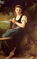 The Knitting Woman painting by William-Adolphe Bouguereau.jpg