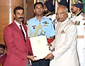 The President, Shri Ram Nath Kovind presenting the Arjuna Award, 2018 to Col. Ravi Rathore for Polo, in a glittering ceremony, at Rashtrapati Bhavan, in New Delhi on September 25, 2018.JPG