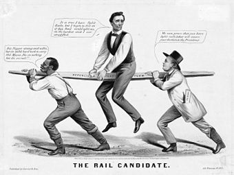 """The Rail Candidate"", Lincoln's 1860 candidacy is held up by slavery issue (slave on left) and party organization (New York Tribune editor Horace Greeley on right)"