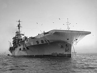 HMS Indefatigable (R10) - Water-level view of Indefatigable at anchor