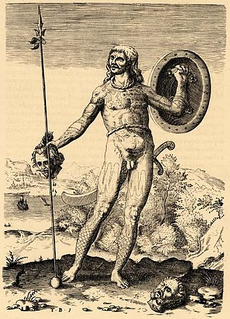 Theodor de Bry - The Trvve Picture of One Picte: Theodor de Bry's engraving of an imagined Pict (a member of an ancient people from what is today Scotland), published in Thomas Hariot's 1588 book A Briefe and True Report of the New Found Land of Virginia.
