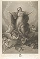 The assumption of the Virgin, who rises with arms outstretched, angels supporting her from below, after Reni MET DP841181.jpg