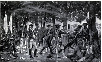 Bengal Subah - British soldiers firing at Bengali forces underneath a mango orchard in Plassey (Palashi), 1757