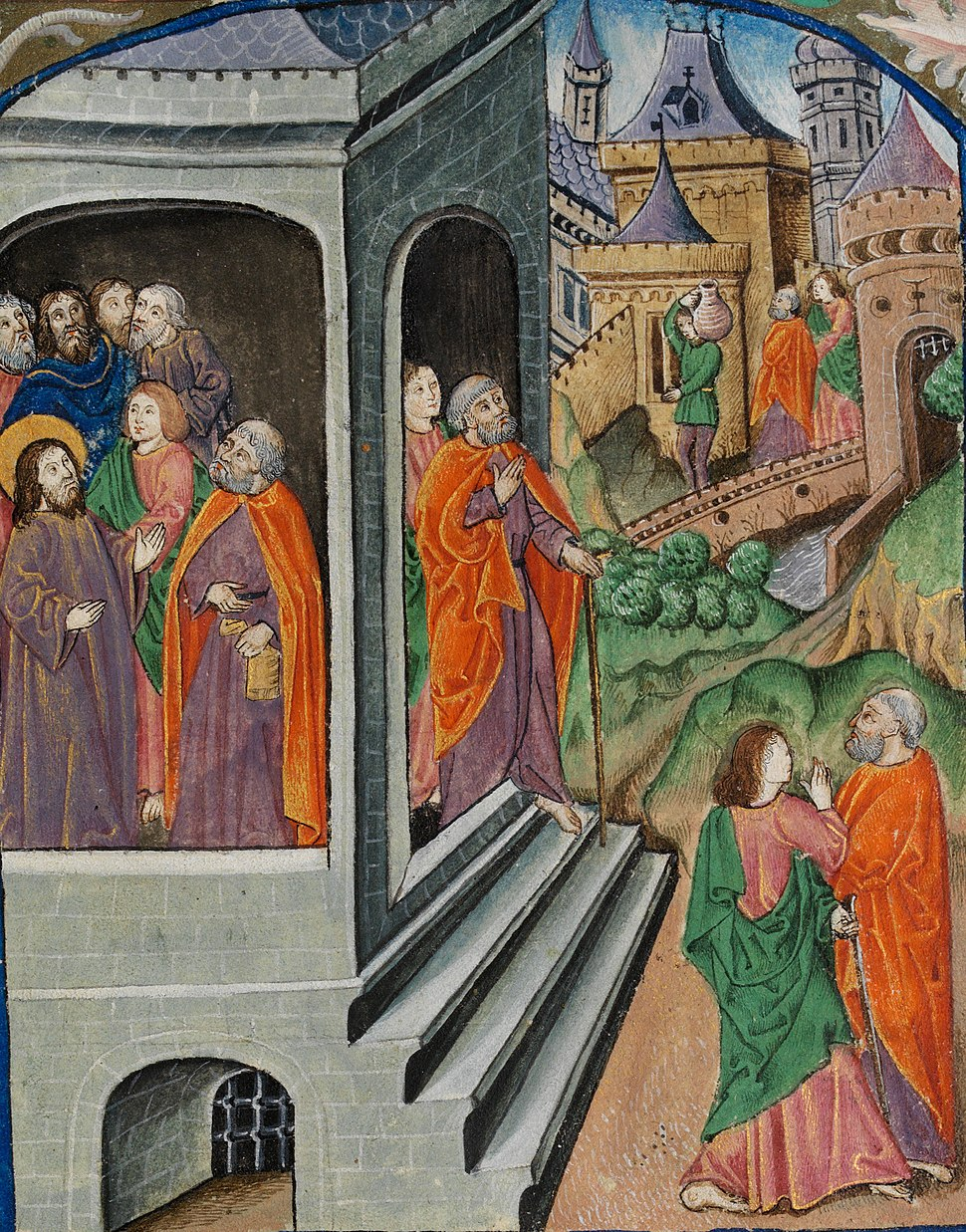 The two disciples, Peter and John, are sent to prepare the Passover (f. 32) Cropped