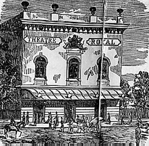 """The Theatre, Leeds - The Royal Theatre, 1867–1875. Confusingly the nameboard still says """"Theatre Royal""""."""