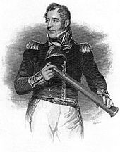Three quarter-length engraving of a man in a dark naval jacket and epaulettes, and white trousers. He looks to his right, and in his hands he holds a telescope.