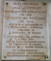 Memorial plaque on the Champs-Élysées, Paris, France, marking where Jefferson lived while he was Minister to France.