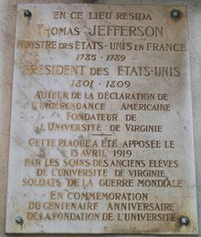 Memorial plaque on the Champs-Élysées, Paris, France, marking where Jefferson lived while U.S. Minister to France.