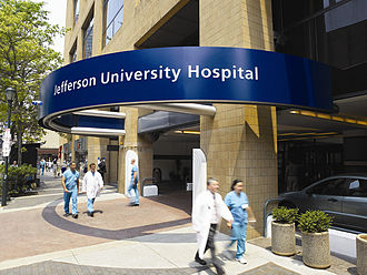 Jefferson Health - Entrance to Thomas Jefferson University Hospital on South 11th Street.