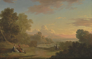 An Imaginary Landscape with a Traveller and Figures Overlooking the Bay of Baiae