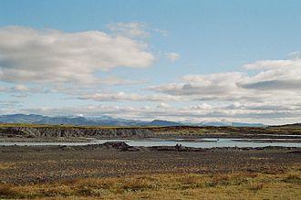 Þjórsá - The river Þjórsá with the glaciers Tindfjallajökull and Eyjafjallajökull