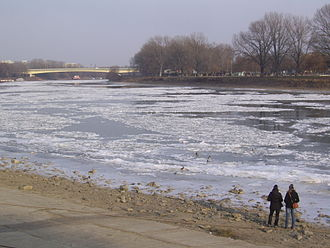 Early 2012 European cold wave - Tisza River near Szeged, Hungary