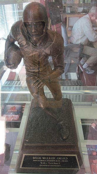 Toby Gerhart - Gerhart's Doak Walker Award on display at the Stanford Athletics Hall of Fame