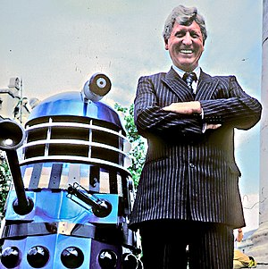 Tom Baker - Tom Baker and a Dalek in London, 1991, at a photocall in Trafalgar Square