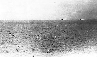 Gulf of Tonkin incident - Photo taken from USS Maddox during the incident, showing three North Vietnamese motor torpedo boats