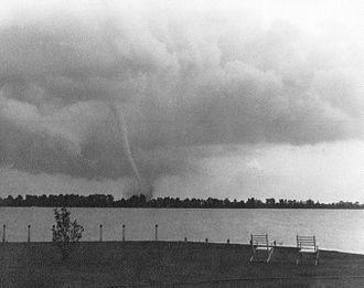 1946 Windsor–Tecumseh tornado - Windsor–Tecumseh tornado viewed from Garland's Seaplane Base on the Detroit side of the Detroit River looking towards Peche Isle (photo by Harry G. Garland).