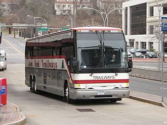 White Plains TransCenter - A Trailways bus along the southbound bus lane