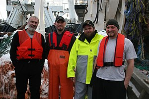 Commercial fishing - Trawl fishermen wearing personal flotation devices in a 2009 trial