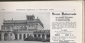 "Destruction of country houses in 20th-century Britain - In 1912, it was not the subject who ""had his head off"", but the house itself. Advertisement for the roofing balustrade and urns from the demolished Trentham Hall"