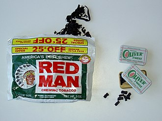 Chewing tobacco - American Red Man loose leaf and Danish Oliver Twist tobacco bits are two leading chewing tobacco brands.