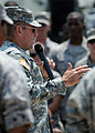 U.S. Army Gen. P.K. Keen, commanding general of Joint Task Force Haiti, talks to Airmen from the 24th Air Expeditionary Group March 15, 2010, before they leave Port-au-Prince, Haiti 100315-N-HX866-003.jpg