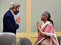 U.S. Special Presidential Envoy for Climate, Mr. John Kerry meeting the Union Minister for Finance and Corporate Affairs, Smt. Nirmala Sitharaman, in New Delhi on April 6, 2021.jpg