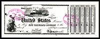 Prueba de $ 5,000 con interés, Serie 1865, Fr.212h, viñetas que representan la justicia (izquierda) y el barco New Ironsides (centro).