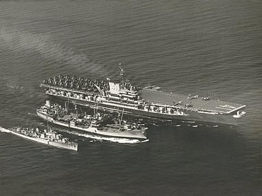 USS Chukawan (AO-100) refuels USS Midway (CVB-41) and USS John R. Pierce (DD-753), in 1950.jpg