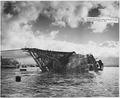 USS Oklahoma (BB37)- Salvage, 3-19-43, 1572-43, View from ahead with ship in 90 degree position - NARA - 296976.tif