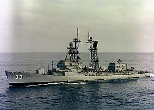 USS Parsons (DDG-33) at sea in December 1980